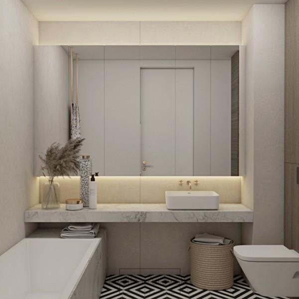 Mała beżowa łazienka z wanną!