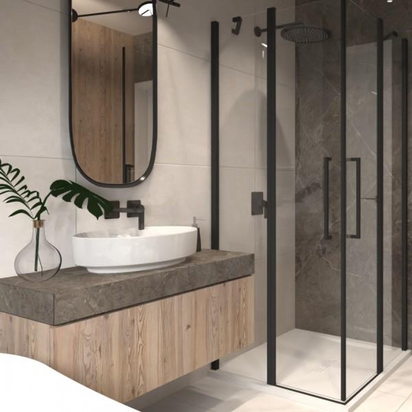 Przytulna łazienka na poddaszu w drewnie i kamieniu!