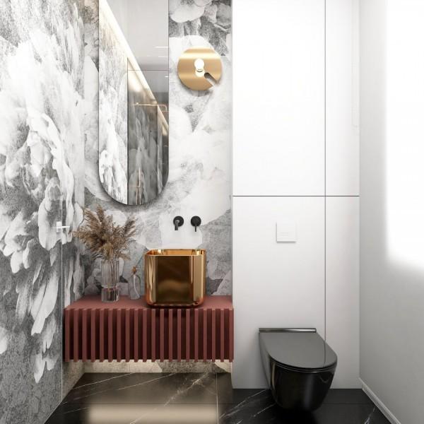 Trzy kolory: jagodowe bordo, złoto i czerń w łazience!