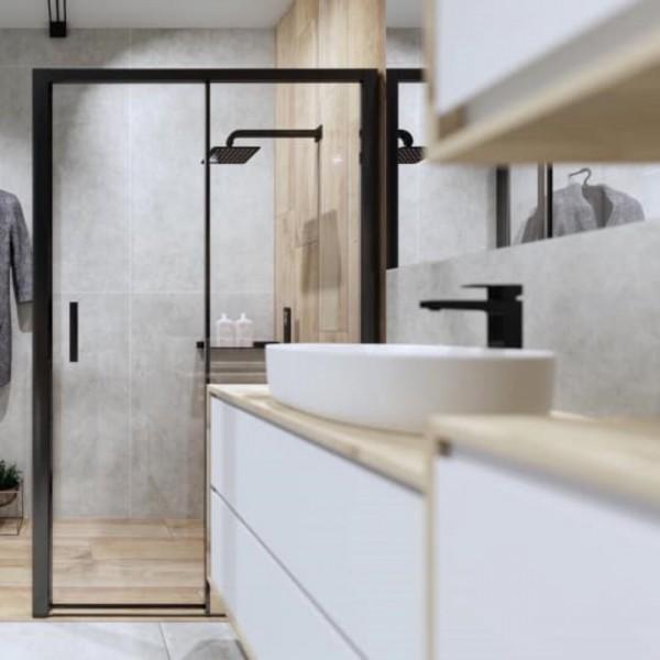 Łazienka w stylu skandynawskim z czarnym prysznicem walk-in!