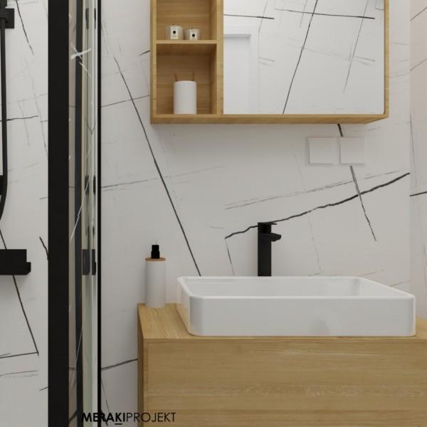Czarno-biała łazienka z czarną kabiną walk-in!