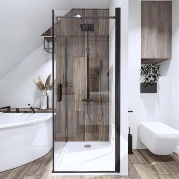 Łazienka na poddaszu z narożną wanną i prysznicem!