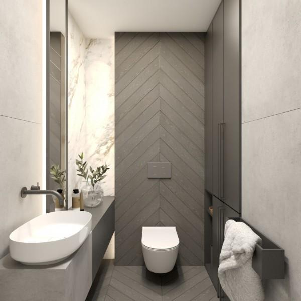 Nowoczesna toaleta w odcieniach szarości!