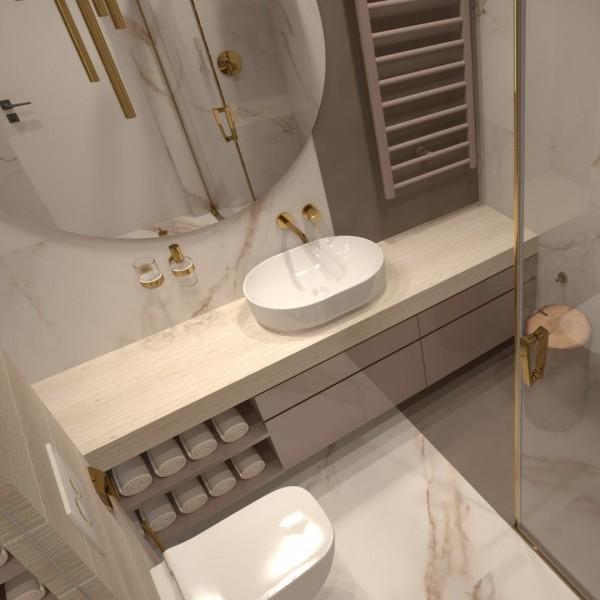 Złota łazienka o małym metrażu!