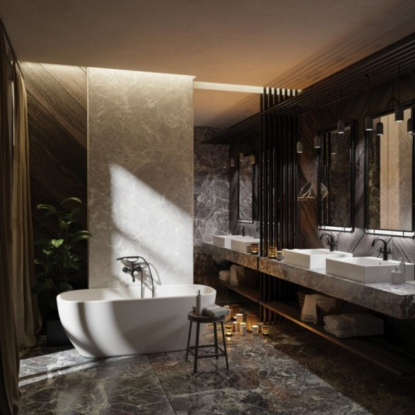 Mała łazienka z bateriami łazienkowymi Deante Temisto Nero w kolorze matowej czerni!
