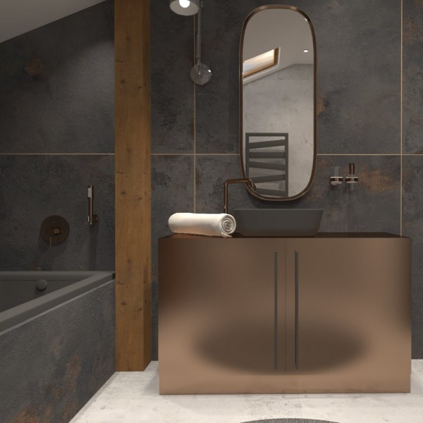 Czarna łazienka z miedzianymi bateriami Grohe Essence!