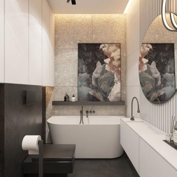 Mała łazienka z wanną wolnostojącą przyścienną!