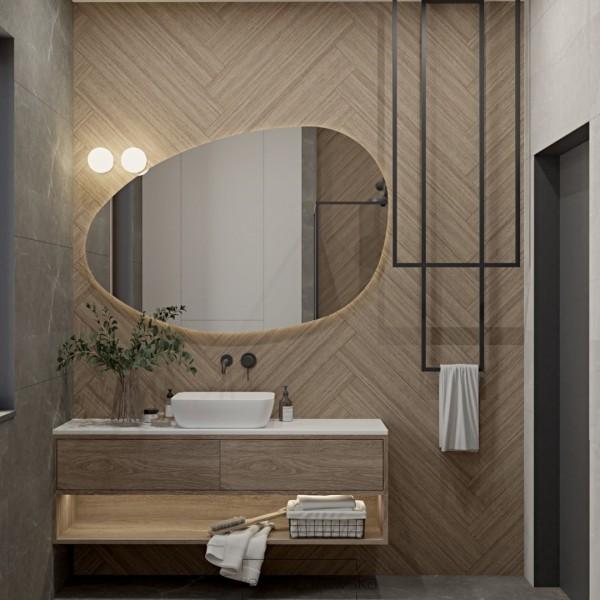 Mała łazienka z płytkami drewnopodobnymi na ścianie!