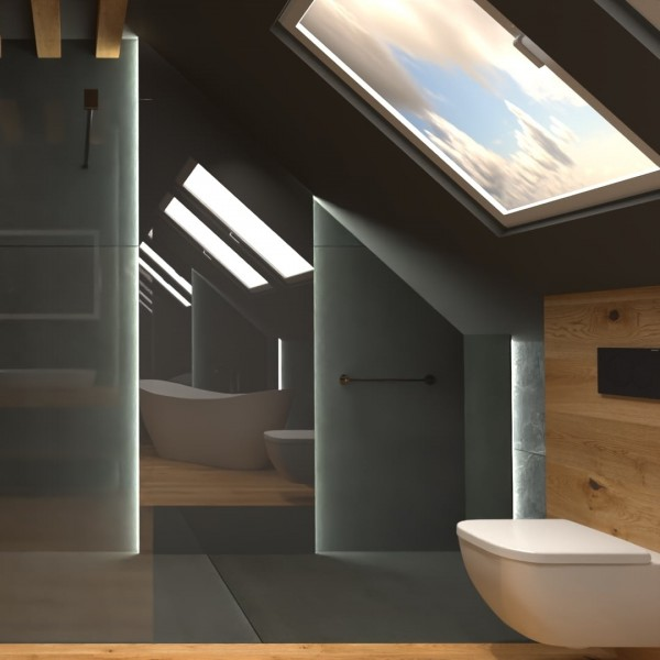 Łazienka na poddaszu z sauną!
