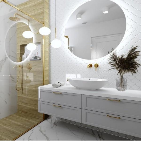 Projekt złotej łazienki z prysznicem!