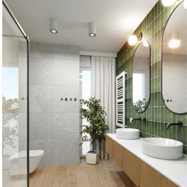 Betonowa łazienka z czarną kabiną prysznicową!