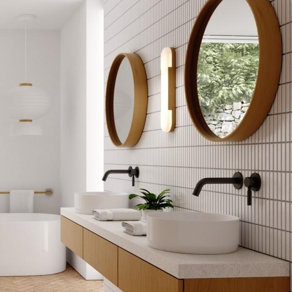 Łazienka w stylu Japandi z bateriami łazienkowymi Kohlman Roxin Black!