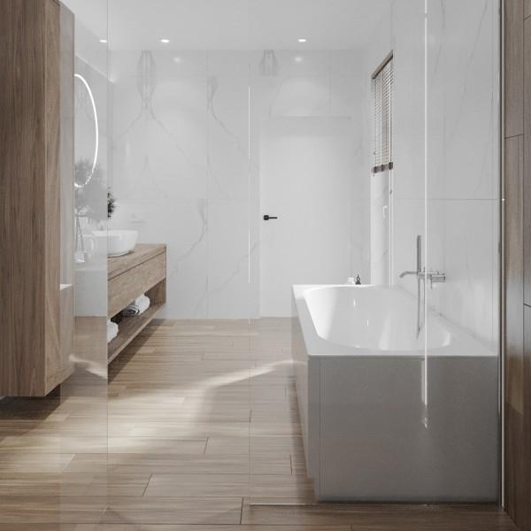 Jasna łazienka z wanną i prysznicem!