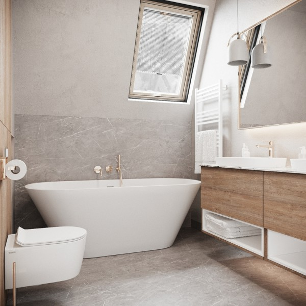 Złota łazienka na poddaszu z wanną wolnostojącą!