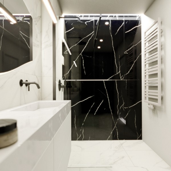 Marmur w małej łazience!