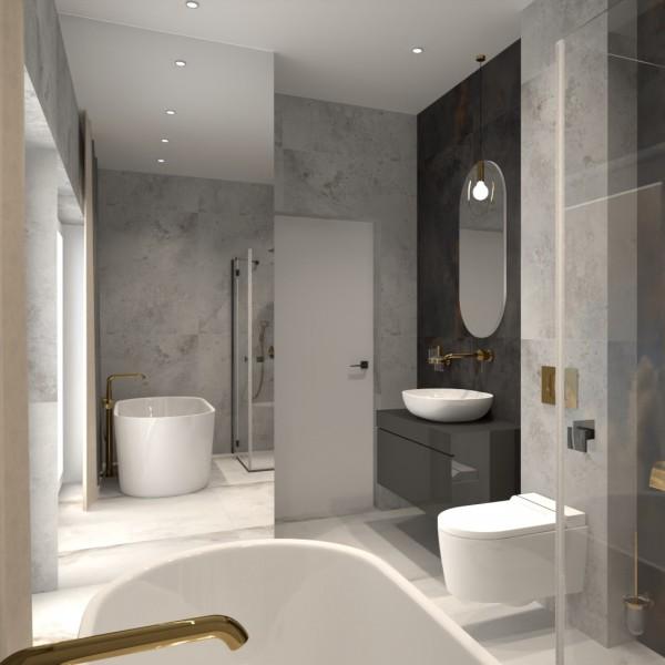 Minimalistyczna łazienka ze złotymi bateriami łazienkowymi!