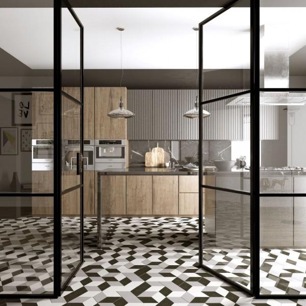 Projekt kuchni z podłogowymi płytkami heksagonalnymi!