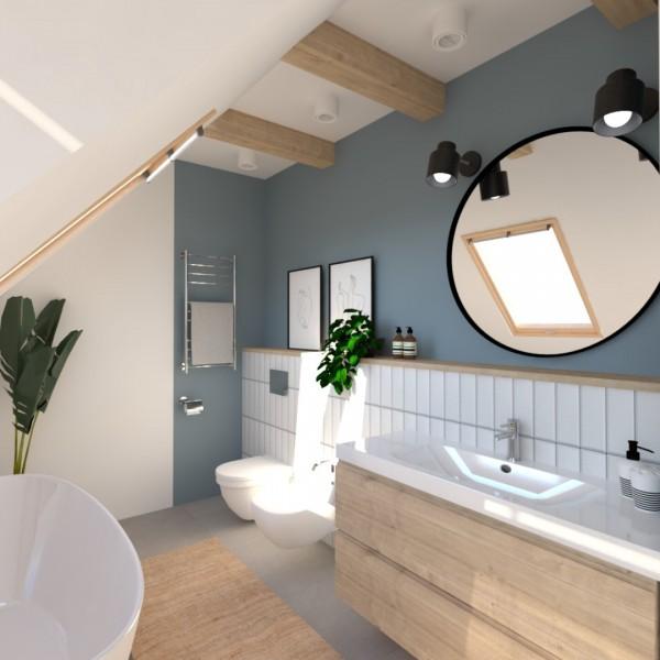 Projekt łazienki na poddaszu z wanną wolnostojącą!