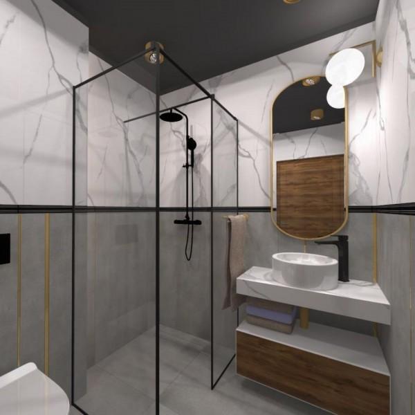 Mała łazienka z kabiną typu walk-in
