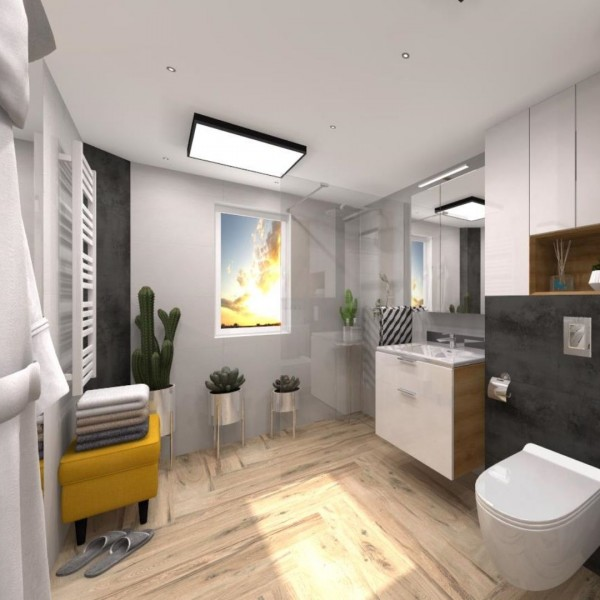Biała łazienka z kabiną walk-in i płytkami drewnopodobnymi