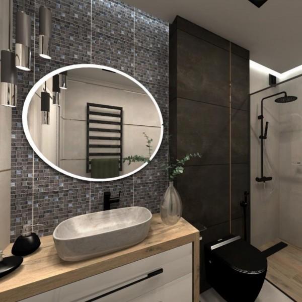 Czarna łazienka z płytkami drewnopodobnymi oraz szarą mozaiką na ścianie!