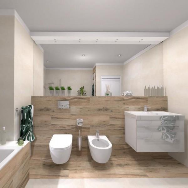 Duża beżowa łazienka z elementami drewna!