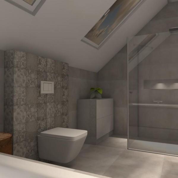 Szara łazienka z płytkami patchorkowymi