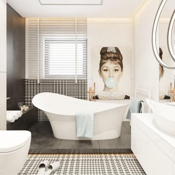 Kobieca łazienka w stylu nowojorskim