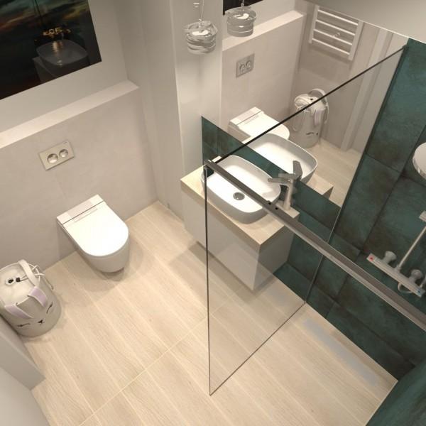 Zielona łazienka z płytkami drewnopodobnymi na podłodze