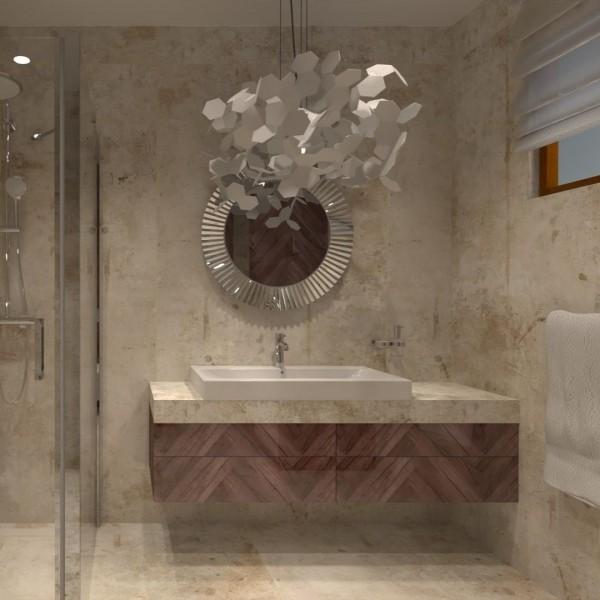 Brązowa łazienka w stylu glamour