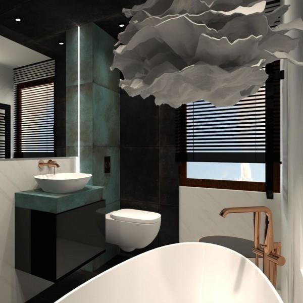 Mała czarno-zielona łazienka z wanną wolnostojącą