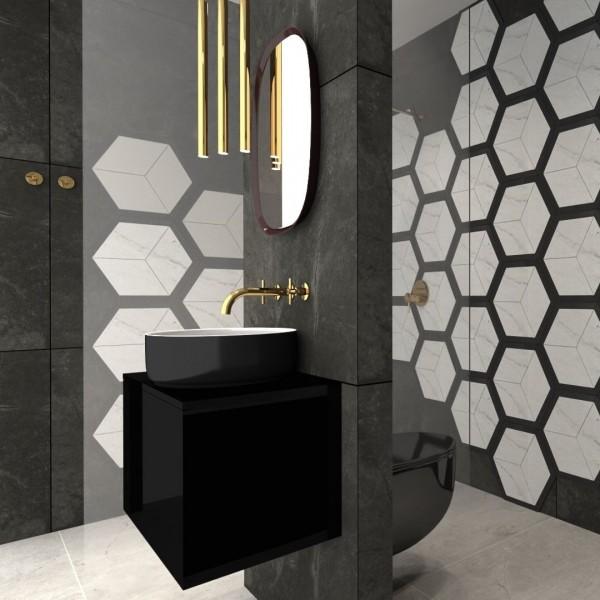 Elegancka czarna łazienka ze złotą armaturą