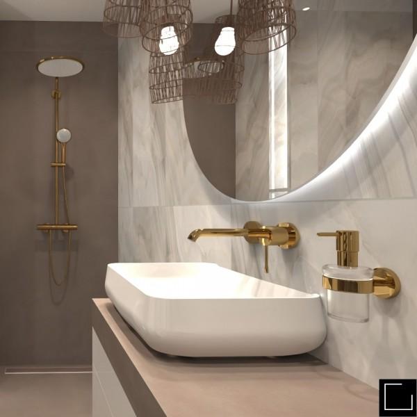 Trzy wersje kolorystyczne małej łazienki z wanną i prysznicem