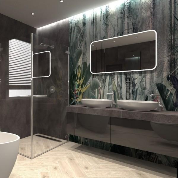Czarna łazienka z tapetą z motywem roślinnym