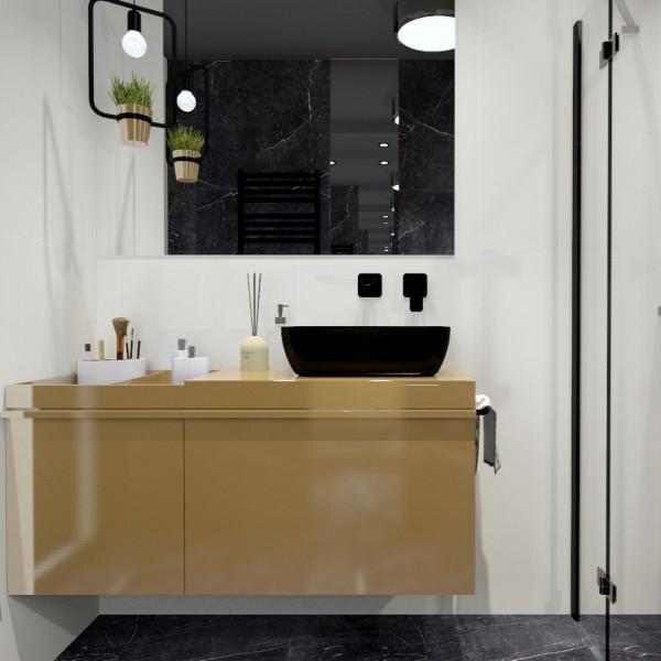 Mała-czarna łazienka z czarnym marmurem w roli głównej!