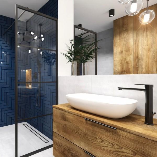 Mała łazienka w bloku z kabiną typu walk-in