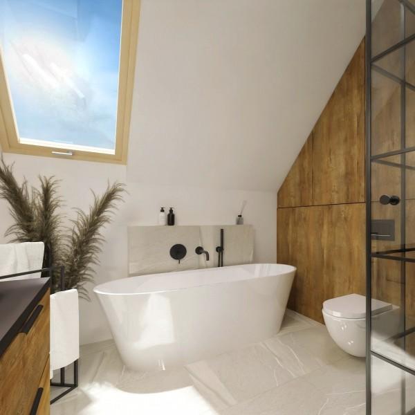 Duża łazienka na poddaszu z wanną i kabiną prysznicową