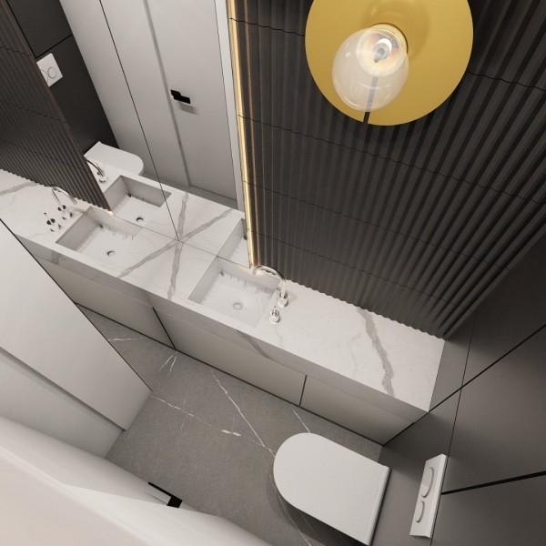 Projekt czarno-białej toalety