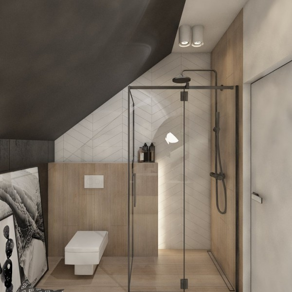 Mała-czarna łazienka na poddaszu